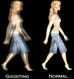 Image ghosting example. The image contains two pictures of a woman walking across the frame. In the left image her limbs are very blurry, which is a type of ghosting artifact. In the right image she is not ghosted, this is the original.